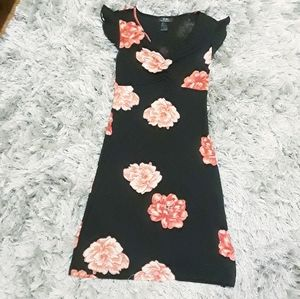 BCBG black dress with coral/red flowers